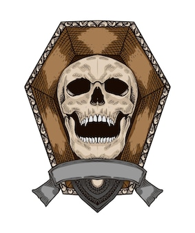Hand drawn skull vintage