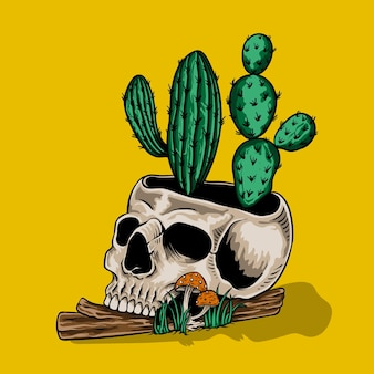 Hand drawn skull with cactus