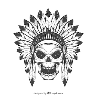Hand drawn skull with feathers hat