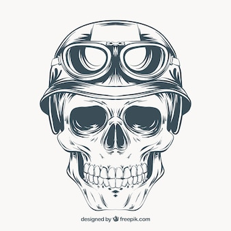 Hand drawn skull with helmet and glasses