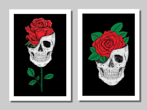 Hand drawn skull with rose poster design in frame in group