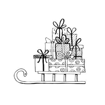ギフト付きの手描きのそりとさまざまな形のプレゼント。あなたのクリスマス、誕生日のバナーデザインのための孤立したベクトルイラストをカットします。落書きスケッチスタイル。筆ペンで描かれたギフトボックスの要素。