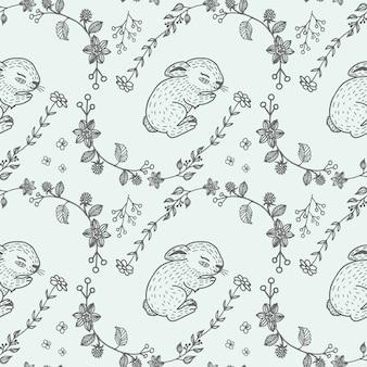 Hand drawn sleeping rabbit seamless pattern