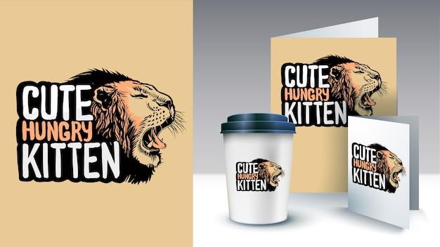うなるライオンヘッドスタイルのイラストが描かれたスローガンを手します。ポスターとマーチャンダイジング。