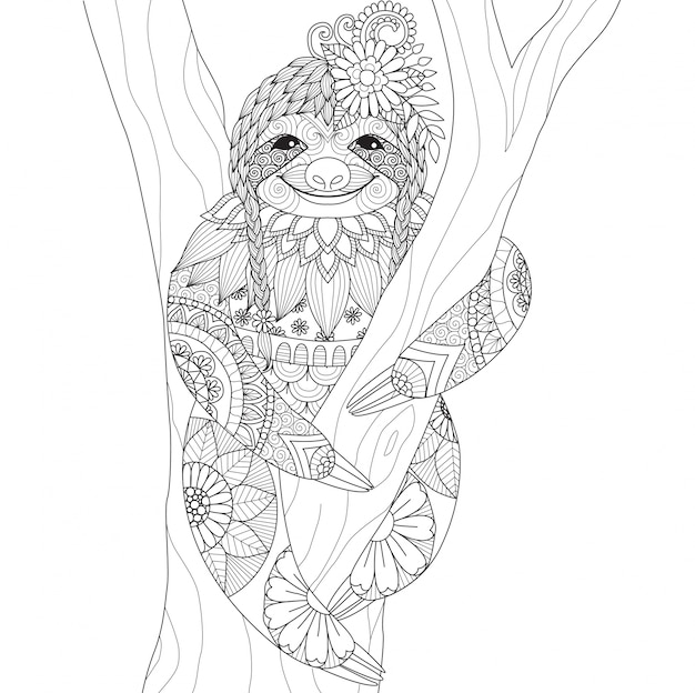Hand drawn sloth background