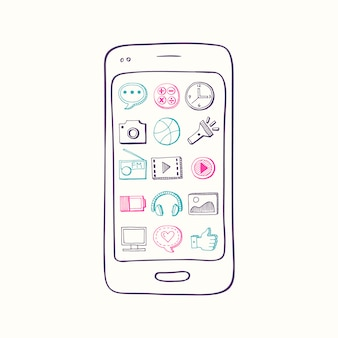 Hand drawn smartphone