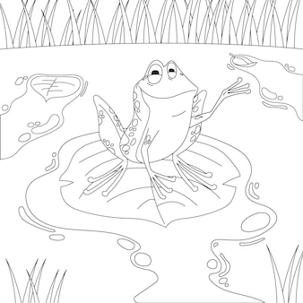 Hand drawn smiley frog for coloring