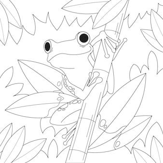 着色のための手描きのスマイリーカエル