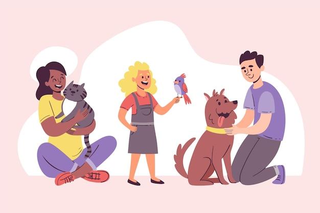 ペットと手描きの笑顔の人々