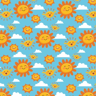 손으로 그린 된 웃는 태양 패턴
