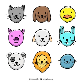 Hand drawn smiling animals avatar collection