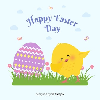 Hand drawn smiling chicken easter day background