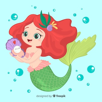 Hand drawn smiling mermaid character
