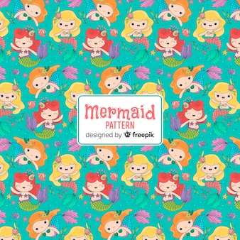 Hand drawn smiling mermaid pattern