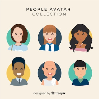 Hand drawn smiling people avatar collection