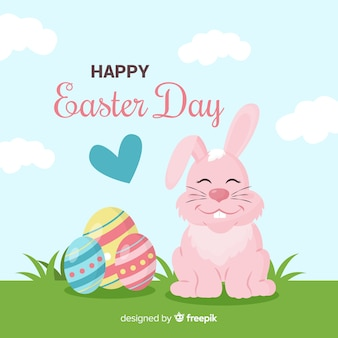 Hand drawn smiling rabbit easter background