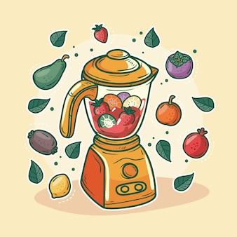 Frullati disegnati a mano nell'illustrazione di vetro del frullatore