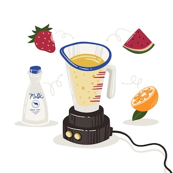 Hand drawn smoothies in blender glass illustration