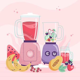 hand drawn smoothies in blender glass
