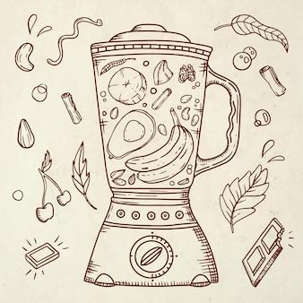 Нарисованные рукой смузи в стеклянной иллюстрации блендера