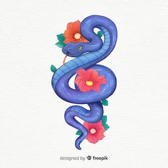 손으로 그린 뱀과 꽃 그림