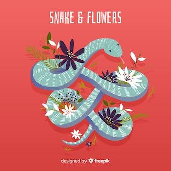 Illustrazione disegnata a mano di serpente e fiori