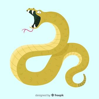 Serpente disegnato a mano sibilando