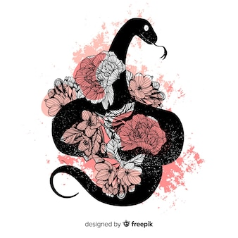 Hand drawn snake silhouette with flowers background