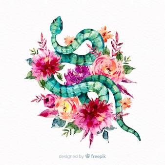 Hand drawn snake with colorful flowers background