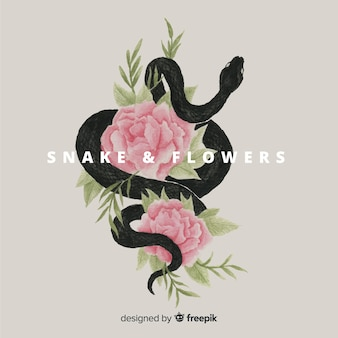 Hand drawn snake with flowers background