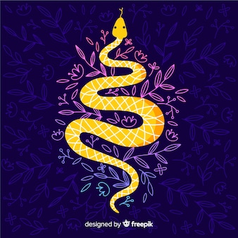 Serpente disegnato a mano con sfondo scuro di fiori