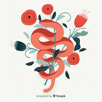 Hand drawn snake with flowers  illustration