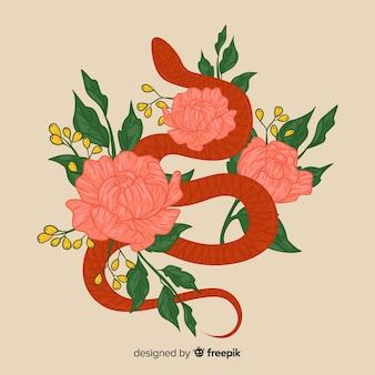 Рисованная змея с цветами