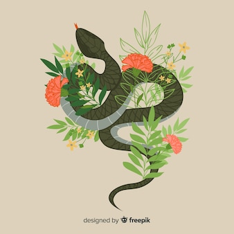Hand drawn snake with flowers
