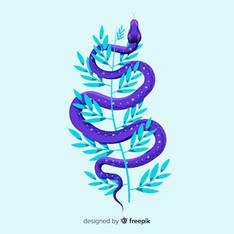 Hand drawn snake with leaves background