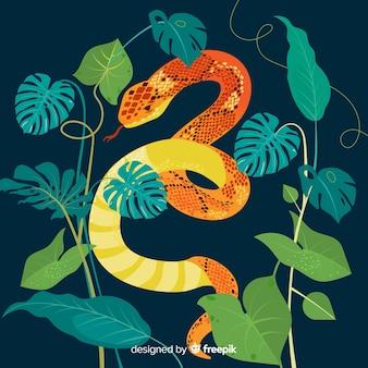 나뭇잎 배경으로 손으로 그린 뱀