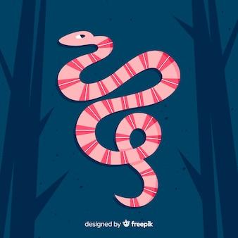 잎 손으로 그린 뱀