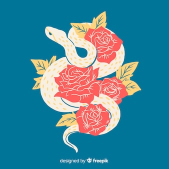 バラの背景を持つ手描き下ろしヘビ