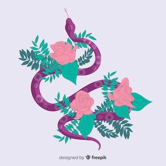 Serpente disegnato a mano ferito sul fondo delle rose