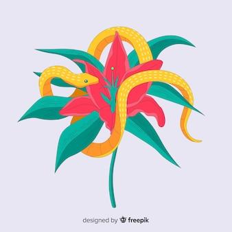Serpente disegnato a mano ferito sul fondo del fiore tropicale