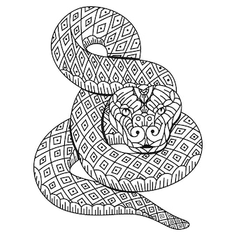 Hand drawn of snake in zentangle style