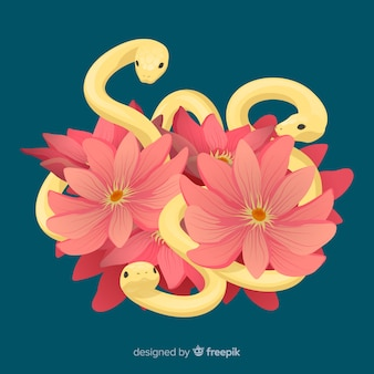 Hand drawn snakes with tropical flowers background