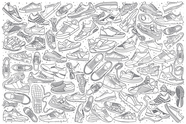 Hand drawn sneakers set