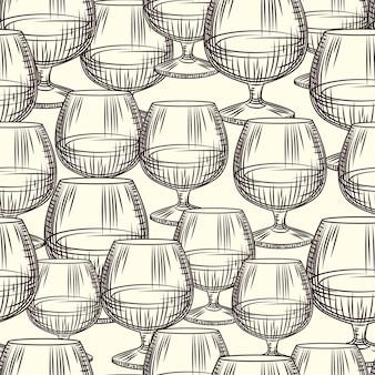 손으로 그린된 snifter 유리 완벽 한 패턴입니다. 브랜디 또는 코냑 스케치 벽지의 유리. 빈티지 스타일의 배경을 조각합니다. 포장지, 섬유 인쇄용 디자인. 벡터 일러스트 레이 션