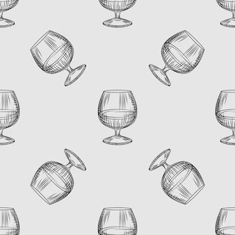 손으로 그린된 snifter 유리 완벽 한 패턴입니다. 브랜디 또는 코냑 벽지의 유리입니다. 빈티지 스타일의 배경을 조각합니다. 포장지, 섬유 인쇄용 디자인. 벡터 일러스트 레이 션