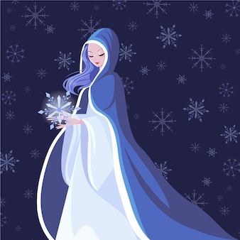 Hand-drawn snow maiden character illustration