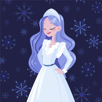 Hand-drawn snow maiden character