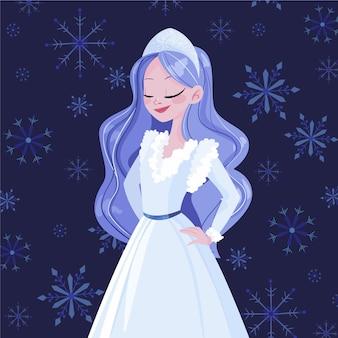 手描きの雪の乙女のキャラクター