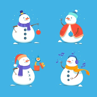 Hand drawn snowman character collection