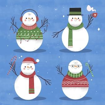 Collezione di personaggi pupazzo di neve disegnati a mano